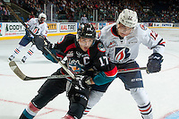 KELOWNA, CANADA - SEPTEMBER 24: Scott Mahovlich #12 of the Kamloops Blazers stick checks Rodney Southam #17 of the Kelowna Rockets on September 24, 2016 at Prospera Place in Kelowna, British Columbia, Canada.  (Photo by Marissa Baecker/Shoot the Breeze)  *** Local Caption *** Scott Mahovlich; Rodney Southam;