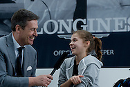 (R) Maja Chwalinska and (L) Tomasz Tomaszewski journalist from TV Polsat during the Longines Future Tennis Aces 2014 at Tuan Tennis Club in Jozefoslaw near Warsaw on April 12, 2014.<br /> <br /> Poland, Warsaw, April 12, 2014<br /> <br /> Picture also available in RAW (NEF) or TIFF format on special request.<br /> <br /> For editorial use only. Any commercial or promotional use requires permission.<br /> <br /> Mandatory credit:<br /> Photo by © Adam Nurkiewicz / Mediasport