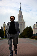 French novelist-philosopher Marek Halter walks in front of the Moscow State University in Moscow. .He was born in Poland in 1936. During World War II, he and his parents escaped from the Warsaw Ghetto and fled to the Soviet Union, spending the remainder of the war in Russia and later in Kokand, Uzbekistan. In 1946 he was chosen to travel to Moscow to present flowers to Stalin...In 1948 the family returned to Poland and later, in 1950, they emigrated to France and took up residence in Paris. Halter studied pantomime under Marcel Marceau and for a time earned a living as a painter; his work was featured in several international exhibitions...Halter began writing in the 1970s. His works include The Madman and the Kings (awarded the Prix Aujourdíhui in 1976), The Messiah, The Mysteries of Jerusalem, The Book of Abraham (1986) and its sequel, The Children of Abraham (1990), The Wind of the Khazars (2003), Sarah (2004), Zipporah (2005), and Lilah (2006). In addition to his novels he is the author of The Jester And the Kings: a Political Biography (1989) and Stories of Deliverance: Speaking with Men And Women Who Rescued Jews from the Holocaust (1998)...In 1991 Halter and Andrei Sakharov organized French College in Moscow. As of now (2007) he remains the president of the college.
