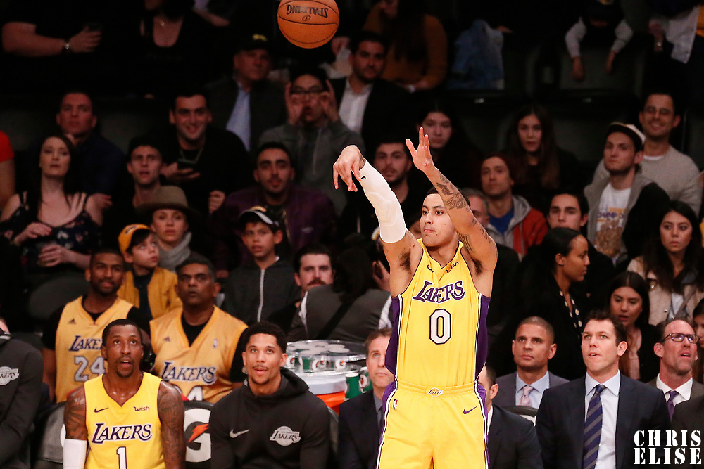 09 January 2018: Los Angeles Lakers forward Kyle Kuzma (0) takes a jump shot during the LA Lakers 99-86 victory over the Sacramento Kings, at the Staples Center, Los Angeles, California, USA.