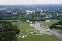 Aerial of Cromwell Meadows WMA, near Connecticut River near Middletown, CT