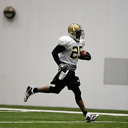 July 30, 2010; Metairie, LA, USA; New Orleans Saints running back Reggie Bush (25) runs with the ball during a training camp practice at the New Orleans Saints indoor practice facility. Mandatory Credit: Derick E. Hingle