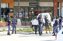 Durban. 120718. Police were doing a sweep of the Cornubia mall after a bomb scare was reported at the Woolworths store. According to information, the whole mall was evacuated while police combed the scene with emergency services on standby. Picture Leon Lestrade. African News Agency/ANA.