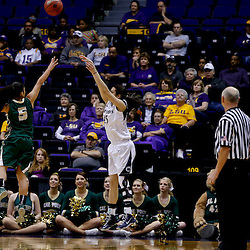 Mar 24, 2013; Baton Rouge, LA, USA; Penn State Lady Lions guard Gizelle Studevent (25) shoots over Cal Poly Mustangs guard Ariana Elegado (5) in the first half during the first round of the 2013 NCAA womens basketball tournament at the Pete Maravich Assembly Center. Mandatory Credit: Derick E. Hingle-USA TODAY Sports