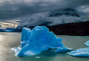 Grounded iceberg from Grey Glacier, Lago Grey, Torres Del Paine National Park, Patagonia, Chile