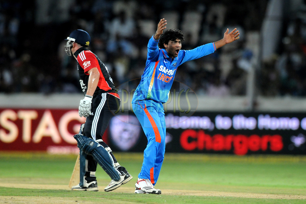 Ravindra Jadeja of Indiaduring the first One Day International ( ODI ) match between India and England held at the Rajiv Gandhi International Stadium, Hyderabad on the 14th October 2011..Photo by Pal Pillai/BCCI/SPORTZPICS