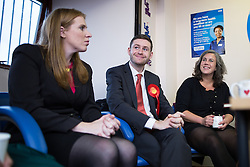 © Licensed to London News Pictures . 01/12/2015 . Oldham , UK . Labour Shadow Health Secretary HEIDI ALEXANDER (right) and candidate JIM MCMAHON (c) at Royton Medical Centre in Oldham , meeting patients , as part of Labour's campaign for the seat of Oldham West and Royton , following the death of sitting MP Michael Meacher . Photo credit : Joel Goodman/LNP