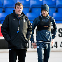 St Johnstone Training….<br />Tommy Wright and Murray Davdison pictured during training at McDiarmid Park ahead of Wednesday nights game at Ross County<br />Picture by Graeme Hart.<br />Copyright Perthshire Picture Agency<br />Tel: 01738 623350  Mobile: 07990 594431