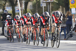 March 7, 2018 - Lido Di Camaiore, ITALY - BMC Racing Team riders pictured in action during the first stage of the 53rd edition of the Tirreno-Adriatico cycling race, a team time trial of 21,5km from and to Lido di Camaiore, Wednesday 07 March 2018, Italy. ..BELGA PHOTO YUZURU SUNADA (Credit Image: © Yuzuru Sunada/Belga via ZUMA Press)