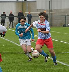 Colaiste Chiarain&rsquo;s Alex Francis wins posession in midfield.<br />Pic Conor McKeown