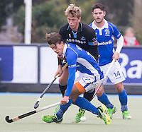 UTRECHT- Hockey -  Boet Phijffer van Kampong met Floris van der Linden van HGC tijdens de hoofdklasse competitiewedstrijd tussen de mannen van Kampong en HGC (2-1). COPYRIGHT KOEN SUYK