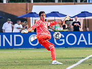 Swope Park Rangers goalkeeper Adrian Zendejas(1) drop kicks the ball during a USL soccer game, Sunday, May 26, 2019, in St. Petersburg, Fla. The Rowdies defeated the Rangers 1-0. (Brian Villanueva/Image of Sport)