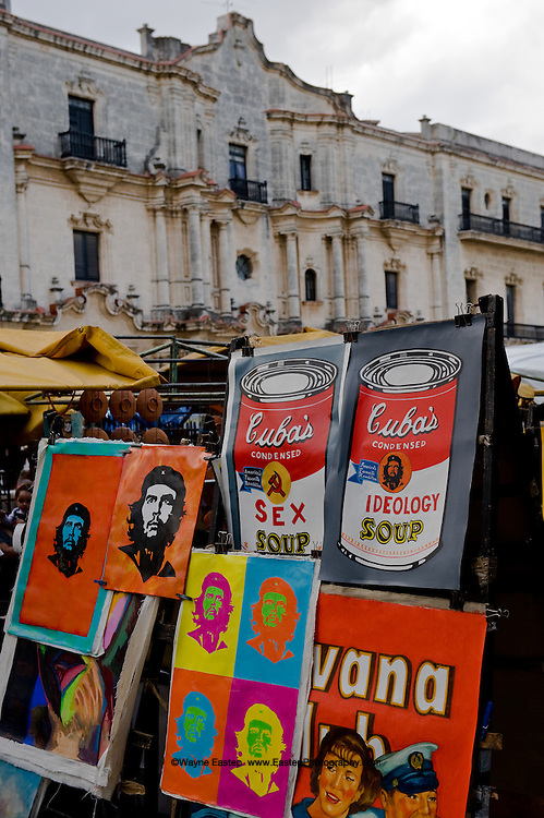 Artists are permitted to sell their art at the street market in front of the Catedral in Havana.  Many artists quickly figured out how to marry pop art to political satire with increased sales resulting.