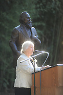 Martha Lyles Wilson speaks at the dedication of the LQC Lamar statue at the LQC Lamar House in Oxford, Miss. on Saturday, October 9, 2010.