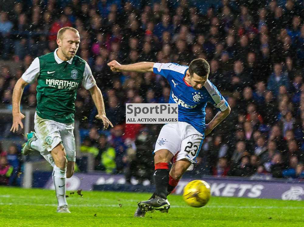 Jason Holt scores for Rangers during the match between Rangers and Hibernian (c) ROSS EAGLESHAM | Sportpix.co.uk