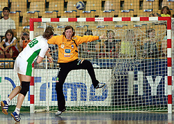 Hryhoryeva vs goalkeeper of Slovenia Sergeja Stefanisin at handball game between women national teams of Slovenia and Belorussia, second qualification game for the European Chamionship 2009, on June 7, 2008, in Arena Zlatorog, Celje, Slovenija. Win of Belorussia, who qualified for EC 2009 in Macedonia. (Photo by Vid Ponikvar / Sportal Images)