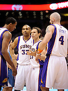 Mar. 12, 2012; Phoenix, AZ, USA; Phoenix Suns guard Steve Nash (13) talks with teammates forward Channing Frye (8) , forward Grant Hill (33) and center Marcin Gortat (4) on the court while playing against the Minnesota Timberwolves at the US Airways Center. The Timberwolves defeated the Suns 127-124. Mandatory Credit: Jennifer Stewart-US PRESSWIRE...