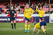 Beth Mead (Arsenal) celebrates her goal 0-4 with Leonie Maier (Arsenal) during the FA Women's Super League match between Brighton and Hove Albion Women and Arsenal Women FC at The People's Pension Stadium, Crawley, England on 12 January 2020.