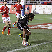 NZ Sevens' Ben Lam touches down for a try vs. Wales at the USA Sevens Rugby at Sam Boyd Stadium, Las Vegas, Nevada, USA.  Photo by Barry Markowitz, 2/8/13