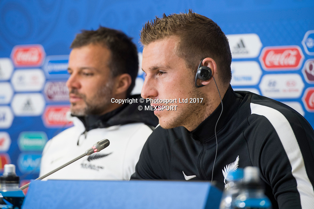 All Whites captain Chris Wood and All Whites coach Anthony Hudson during the Press Conference of the Selection of New Zealand before their match against the Selection of Portugal, Correspondent to Group A of the FIFA Confederations Cup Russia 2017, in the Stadium Krestovski (Zenit) San Petesbrgo in St. Petersburg.<br /> 23 June 2017.<br /> Copyright photo: MEXSPORT / Jorge Martinez / www.photosport.nz