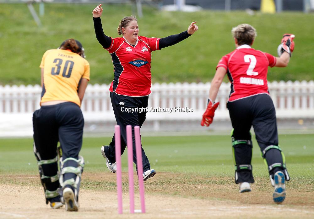 Wellington's Sarah Taylor bowled by Canterbury's Kelly Anderson (C), Action Cricket Twenty20 Final, Blaze v Magicians. Basin Reserve, Wellington. Saturday 5 February 2011. Photo: Anthony Phelps/PHOTOSPORT