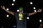 "AKRON, OH - AUGUST 8: LeBron James on stage during his ""Welcome Home"" celebration at InfoCision Stadium on Friday, Aug. 8, 2014 as seen on Rehab Addict in Akron, Ohio."