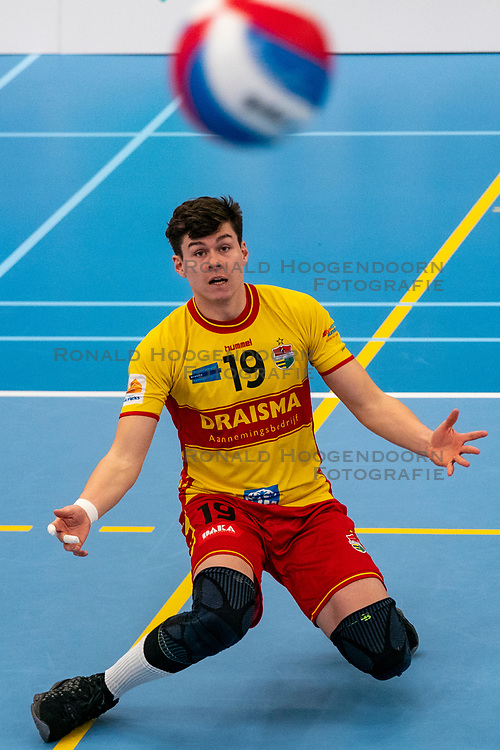 Seain Cook #19 of Dynamo in action in the second round between Sliedrecht Sport and Draisma Dynamo on February 29, 2020 in sports hall de Basis, Sliedrecht