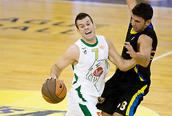 Sani Becirovic (7) of Olimpija vs Marios Batis of Maroussi at Euroleague basketball match of Group C between KK Union Olimpija, Ljubljana and Maroussi B.C., Athens, on October 29, 2009, in Arena Tivoli, Ljubljana, Slovenia. Olimpija lost 75:81.  (Photo by Vid Ponikvar / Sportida)