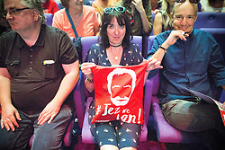 © Licensed to London News Pictures . 23/07/2016 . Salford , UK . The audience watch Jeremy Corbyn launching his campaign to be re-elected Labour Party leader , at the Lowry Theatre at Salford Quays . Photo credit : Joel Goodman/LNP