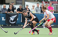 BREDA (Neth.)  Tarryn Davey (l) with English Kim Leiper during the match  New Zealand vs England U21 women . Volvo Invitational Tournament U21. COPYRIGHT KOEN SUYK