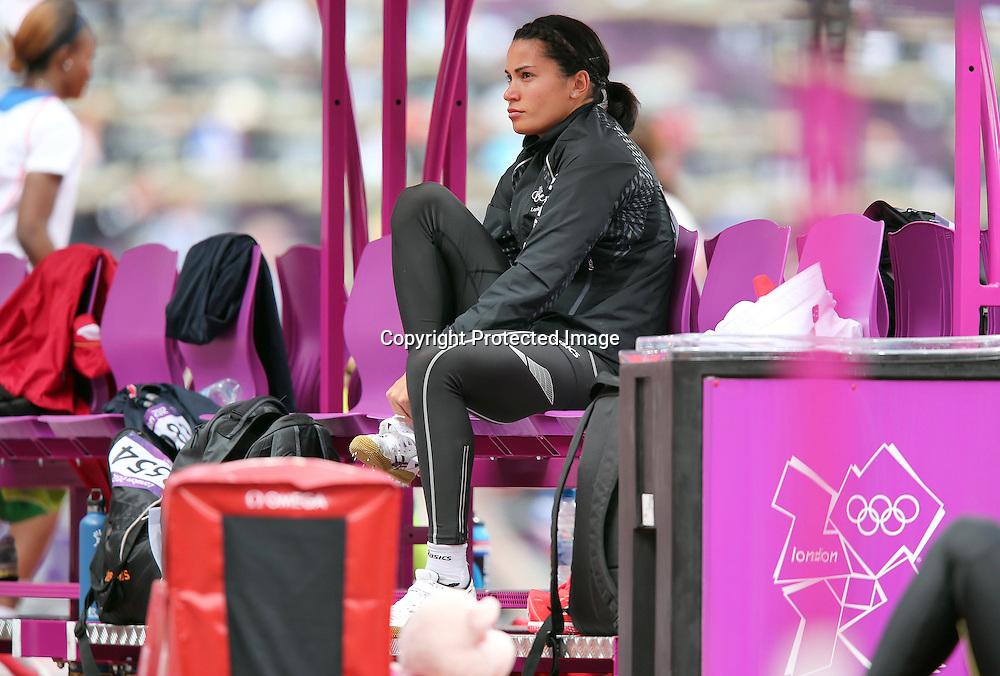 Athletics, London 2012 Olympic Games, Olympic Stadium, London, England 3/8/2012<br /> Women's Heptathlon High Jump <br /> New Zealand's Sarah Cowley<br /> Mandatory Credit &copy;INPHO/Dan Sheridan