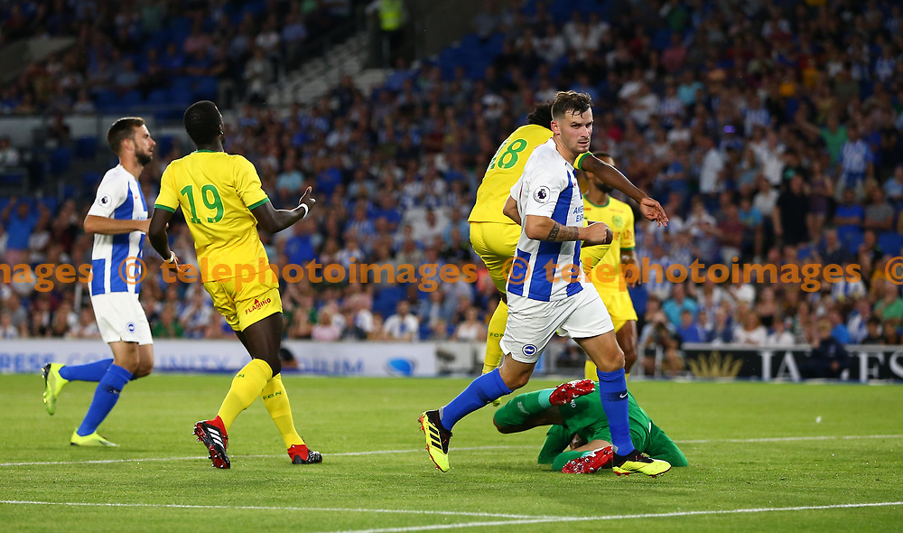 Pascal Gross celebrates scoring Brighton's second goal during the pre season friendly between Brighton and Hove Albion and FC Nantes at the American Express Community Stadium in Brighton. 03 Aug 2018