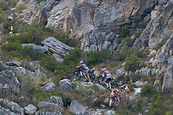 Riders climb through rocks during stage 1 of the 2017 Absa Cape Epic Mountain Bike stage race held from Hermanus High School in Hermanus, South Africa on the 20th March 2017<br /> <br /> Photo by Greg Beadle/Cape Epic/SPORTZPICS<br /> <br /> PLEASE ENSURE THE APPROPRIATE CREDIT IS GIVEN TO THE PHOTOGRAPHER AND SPORTZPICS ALONG WITH THE ABSA CAPE EPIC<br /> <br /> ace2016