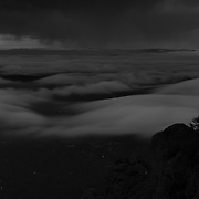 Coastal fog over mill valley. Mt Tamilpais summit.