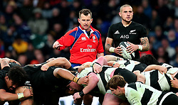 Referee Nigel Owens oversees a scrum while TJ Perenara of New Zealand looks on - Mandatory by-line: Robbie Stephenson/JMP - 04/11/2017 - RUGBY - Twickenham Stadium - London,  - Barbarians v All Blacks - Killik Cup