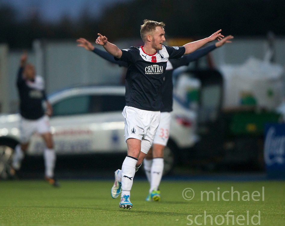 Falkirk's Craig Sibbald celebrates after scoring their third goal.<br /> Falkirk 4 v 1 Livingston, Scottish Championship game played today at the Falkirk Stadium.<br /> &copy;Michael Schofield.