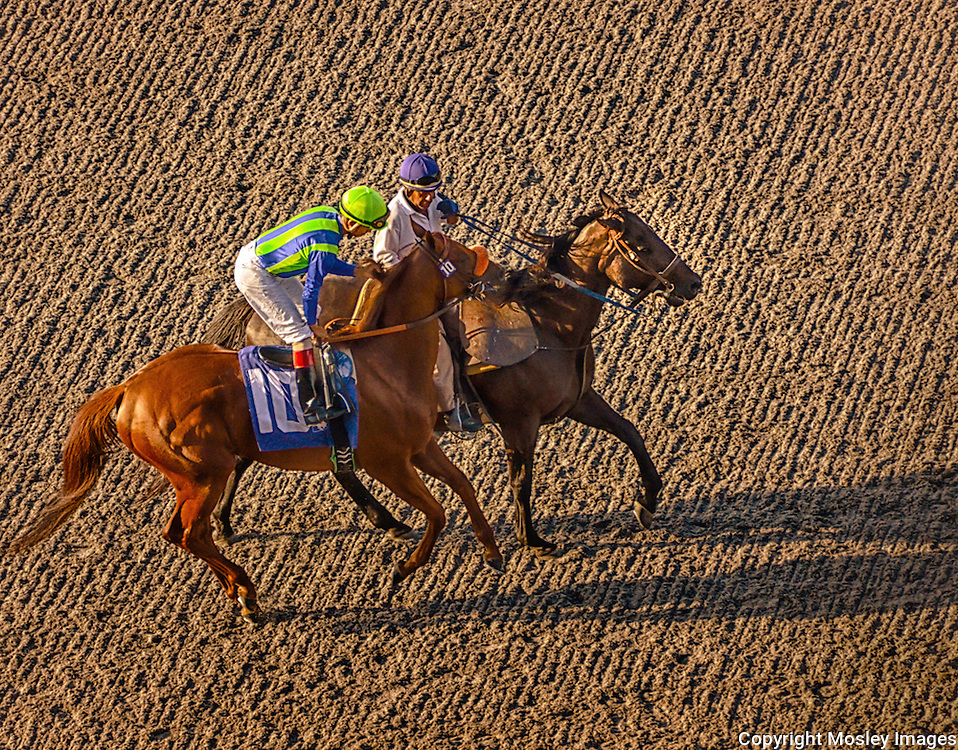 Del Mar Jockey and Outrider pre-race conversation photo by Barry A Mosley Photography, Nebraska-based photographer.