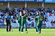 Notts celebrate the wicket of Joe Clarke during the Natwest T20 Blast North Group match between Nottinghamshire County Cricket Club and Worcestershire County Cricket Club at Trent Bridge, West Bridgford, United Kingdom on 26 July 2017. Photo by Simon Trafford.