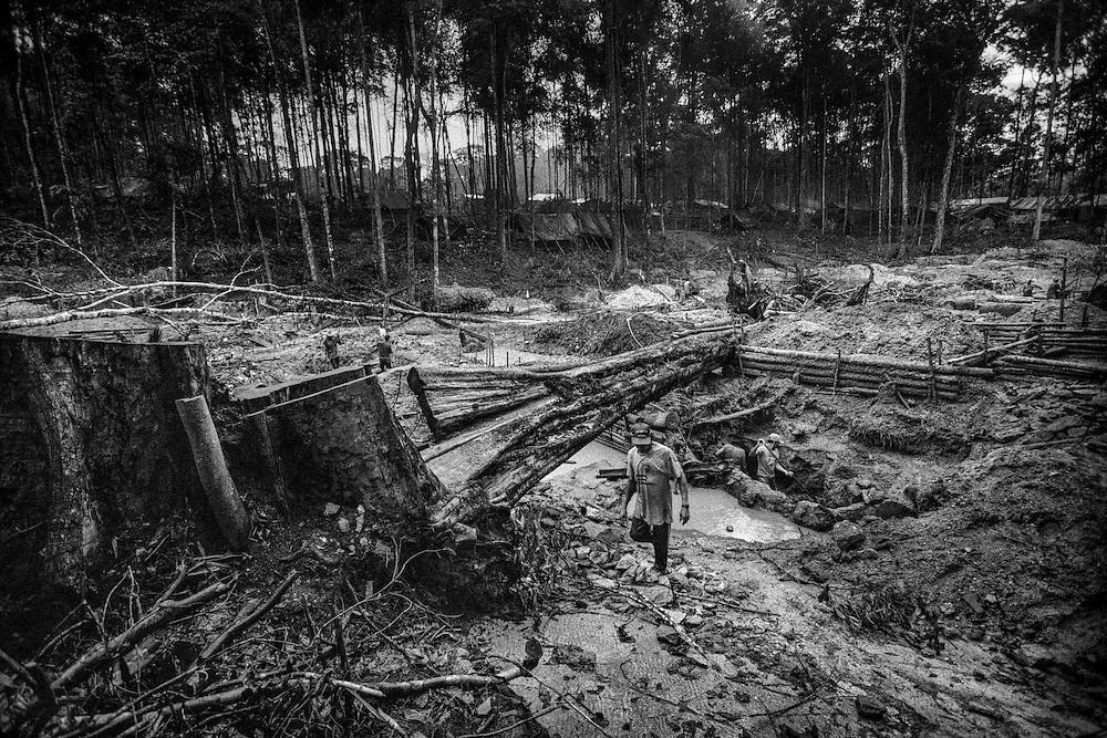 Brazil, Amazonas, Eldorado do Juma.<br /> <br /> Grota velha, garimpeiros.<br /> Eldorado do Juma est maintenant un bidonville de plastique noir et de misere croissante sur la rive du fleuve, qui attire les prospecteurs. Des centaines d'hommes y creusent la boue sur leurs petites parcelles delimitees par des branchages et des ficelles. A la fin du jour, les plus chanceux auront trouve quelques poussieres d'or, vendues ensuite 40 reals le gramme (14,5 euros) a Apui, 65km au nord. Les plus riches du coin sont ceux et celles qui cuisinent, nettoient ou divertissent les mineurs.<br /> Il y a trop de prospecteurs pour la teneur du filon, du coup les garimpeiros s&rsquo;eparpillent sur une surface qui couvre plus de 40 hectares. Tous les mineurs dependent de l'autorisation d'une cooperative de proprietaires pour travailler. Ces proprietaires ne possedent pourtant pas de titre foncier pour justifier leur etat, ils sont simplement arriver les premiers sur les parcelles : c'est la loi de l'or.<br /> Quatre mois apres le debut de cette ruee, la plupart du minerai qui peut etre extrait manuellement a ete trouve, les mineurs qui restent sont les survivants de la rumeur. Ils n'ont souvent plus rien et esperent seulement trouver de quoi payer le voyage pour aller tenter leur chance vers d'autres terres promises.