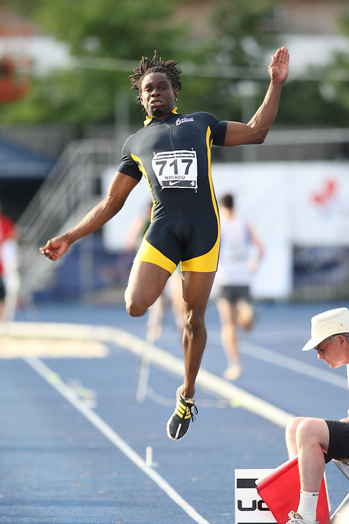(Toronto, Ontario---27/06/09)   Osi Tadinma Nriagu competing in  long jump final at the 2009 Canadian National Track and field Championships. Photograph copyright Sean Burges / Mundo Sport Images, 2009. www.mundosportimages.com / www.msievents.