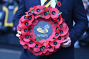 The Wasps wreath to commemorate Armistice day 2019 during the Gallagher Premiership Rugby match between Wasps and Bath Rugby at the Ricoh Arena, Coventry, England on 2 November 2019.