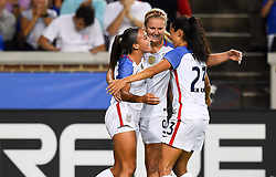 September 19, 2017 - Cincinnati, OH, USA - Cincinnati, OH - Tuesday September 19, 2017: Mallory Pugh, Lindsey Horan, Christen Press celebrate during an International friendly match between the women's National teams of the United States (USA) and New Zealand (NZL) at Nippert Stadium. (Credit Image: © Brad Smith/ISIPhotos via ZUMA Wire)