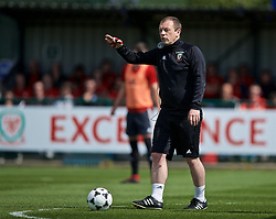 NEWPORT, WALES - Saturday, May 25, 2019: Richard Williams gives a practical demonstration of Skill Acquisition during day two of the Football Association of Wales National Coaches Conference 2019 at Dragon Park. (Pic by David Rawcliffe/Propaganda)