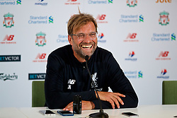 DUBLIN, REPUBLIC OF IRELAND - Saturday, August 5, 2017: Liverpool's manager Jürgen Klopp speaks to the media during a post-match press conference after a preseason friendly match between Athletic Club Bilbao and Liverpool at the Aviva Stadium. (Pic by David Rawcliffe/Propaganda)