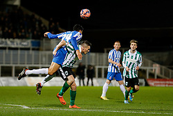 Matteo Lanzoni of Hartlepool United and Daniel Hawkins of Blyth Spartans compete for the ball - Photo mandatory by-line: Rogan Thomson/JMP - 07966 386802 - 05/12/2014 - SPORT - FOOTBALL - Hartlepool, England - Victoria Park - Hartlepool United v Blyth Spartans - FA Cup Second Round Proper.