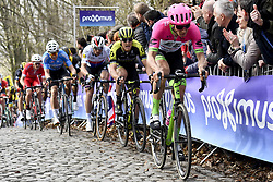 March 25, 2018 - Wevelgem, BELGIUM - Belgian Wout van Aert of Team Sniper, Czech Zdenek Stybar of Quick-Step Floors, Italian Matteo Trentin of Mitchelton - Scott and Belgian Sep Vanmarcke of EF Education First - Drapac Cannondale pictured in action on the cobblestones of the Kemmelberg during the 80th edition of the Gent-Wevelgem cycling race, 251,1 km from Deinze, near Gent, to Wevelgem, Sunday 25 March 2018. BELGA PHOTO DIRK WAEM (Credit Image: © Dirk Waem/Belga via ZUMA Press)