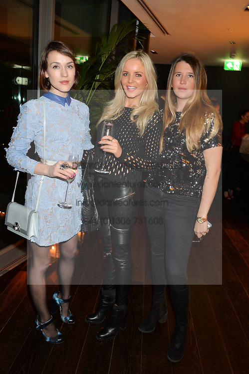 Left to right, ELLA CATLIFF, HANNAH SAUNDERS and LULU DUNDAS at the Launch Of Osman Yousefzada's 'The Collective' 4th edition with special guest collaborator Poppy Delevingne held in the Rumpus Room at The Mondrian Hotel, 19 Upper Ground, London SE1 on 24th November 2014, sponsored by Storm models and Beluga vodka.