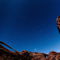Landscape Arch Under Stars and Moonlight, Arches National Park, Utah, US