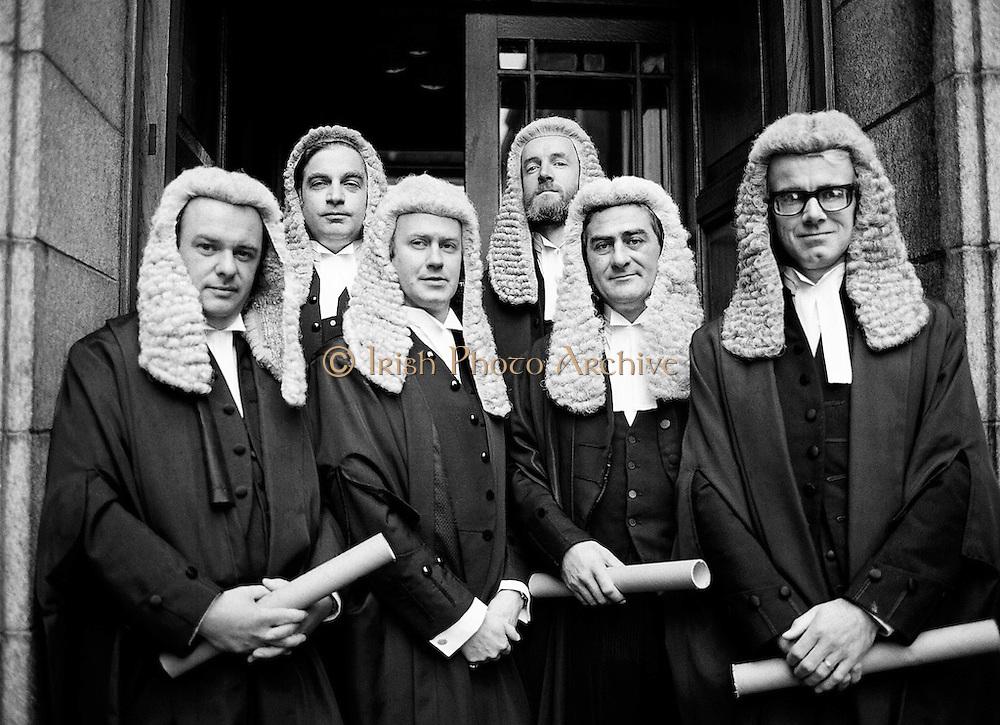 Calls to the Bar: newly qualified lawyers at the Four Courts, Dublin. (l–r:) Paul Carney, Rathmines, Dublin; Peter Sutherland, Blackrock, Dublin; Frank Spain, Lansdowne Road, Dublin; John D Cooke, Churchtown, Dublin; David Montgomery, Blackrock, Dublin; and Eoghan Fitzsimons, Howth, Dublin.<br /> 6 October 1980
