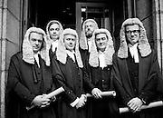 Calls to the Bar: newly qualified lawyers at the Four Courts, Dublin. (l&ndash;r:) Paul Carney, Rathmines, Dublin; Peter Sutherland, Blackrock, Dublin; Frank Spain, Lansdowne Road, Dublin; John D Cooke, Churchtown, Dublin; David Montgomery, Blackrock, Dublin; and Eoghan Fitzsimons, Howth, Dublin.<br /> 6 October 1980